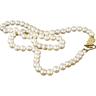 Vintage Blue Lagoon pearls by Mikimoto 18 inch long, 6.5 mm