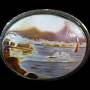 Vintage Giovanni Apa cameo of view of Mt Vesuvius