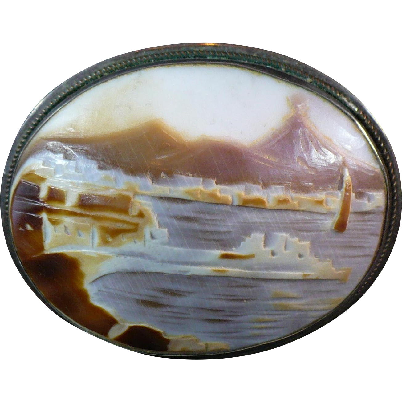 Vintage Giovanni Apa Cameo Of View Of Mt Vesuvius From
