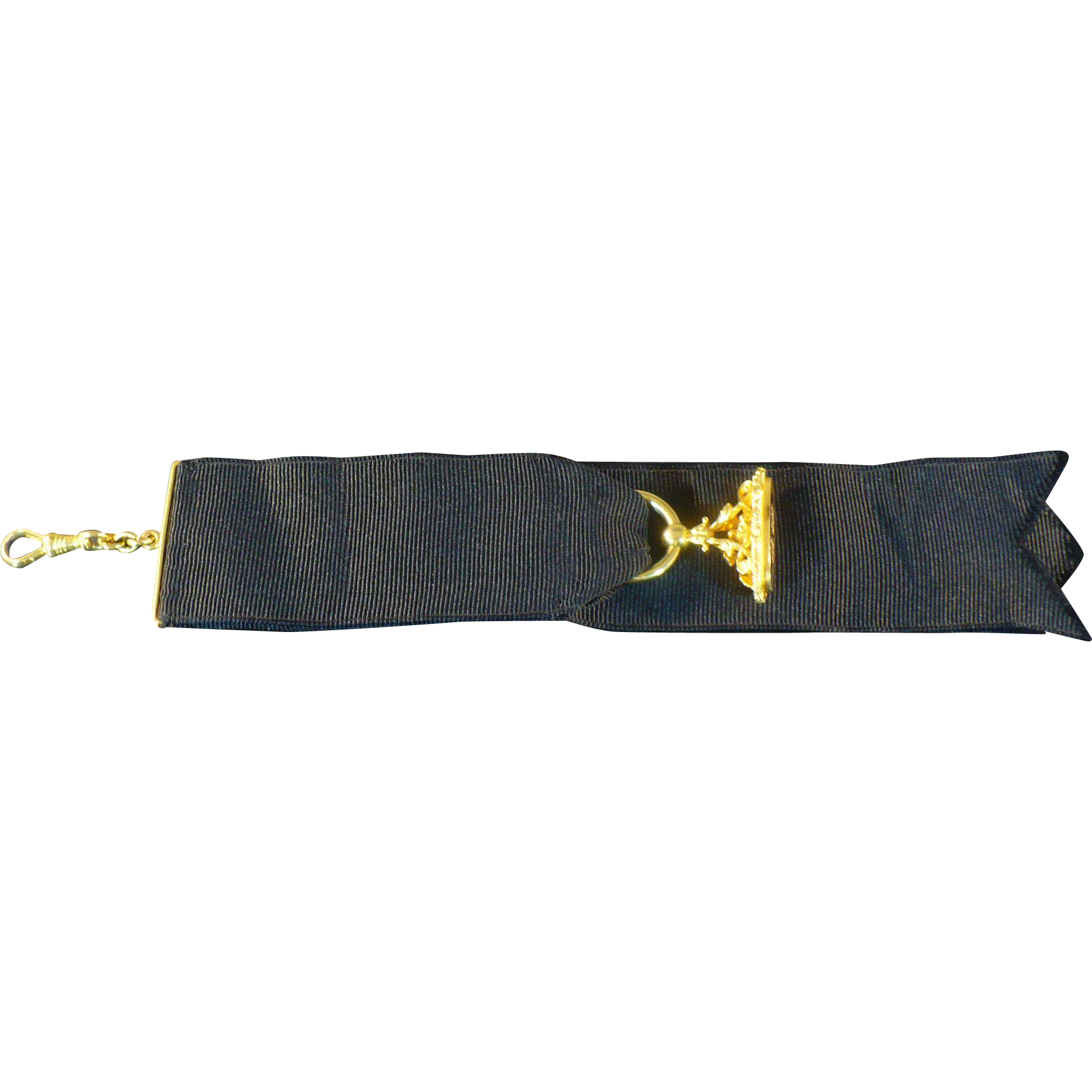 Vintage 14 Karat Gold watch fob on mourning ribbon