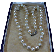 Vintage Majorca simulated pearl 18 inch necklace with 800 silver clasp