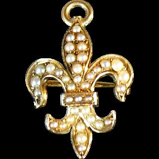 Vintage Victorian 14 Karat gold and seed pearl Fleur De Lis Pin