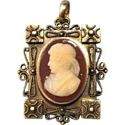 Victorian Hardstone 10kt Cameo Brooch