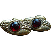 Victorian Gold filled red stone cuff links