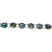 Vintage reverse scene painted Morpho butterfly wing bracelet circa 1925