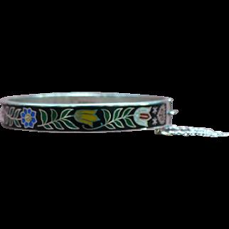 Vintage Sterling and enamel bangle bracelet from Thailand
