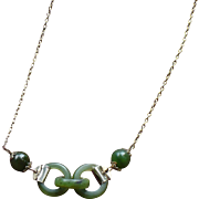 Vintage Nephrite jade interlinking ring necklace.
