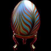 Vintage Vandermark pulled feather glass egg