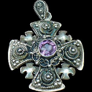 Vintage Jerusalem amethyst cross in 935 Sterling