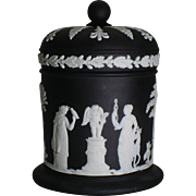 Vintage black Jasperware Tobacco jar
