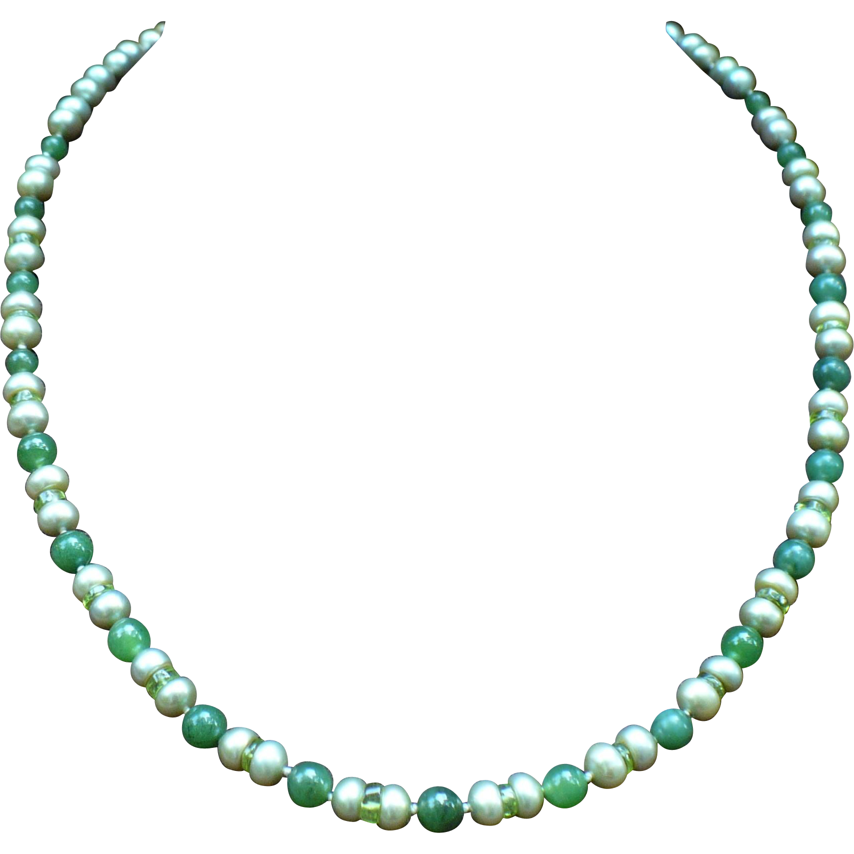 Custom green freshwater pearls, peridot and nephrite jade bead necklace