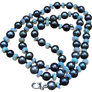 Freshwater Black Pearls and Opal rondelle necklace 18 inches