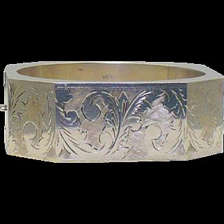 Vintage hand engraved sterling silver bangle