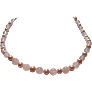 Rose Quartz and natural color freshwater pearl necklace