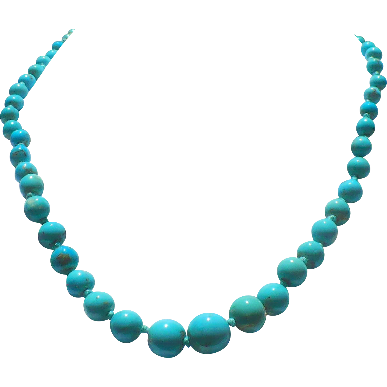 Vintage Graduated Turquoise necklace 18 inch