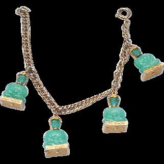 Vintage Peking glass Buddha costume gold tone bracelet