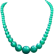 Vintage Green Moonglow bead necklace