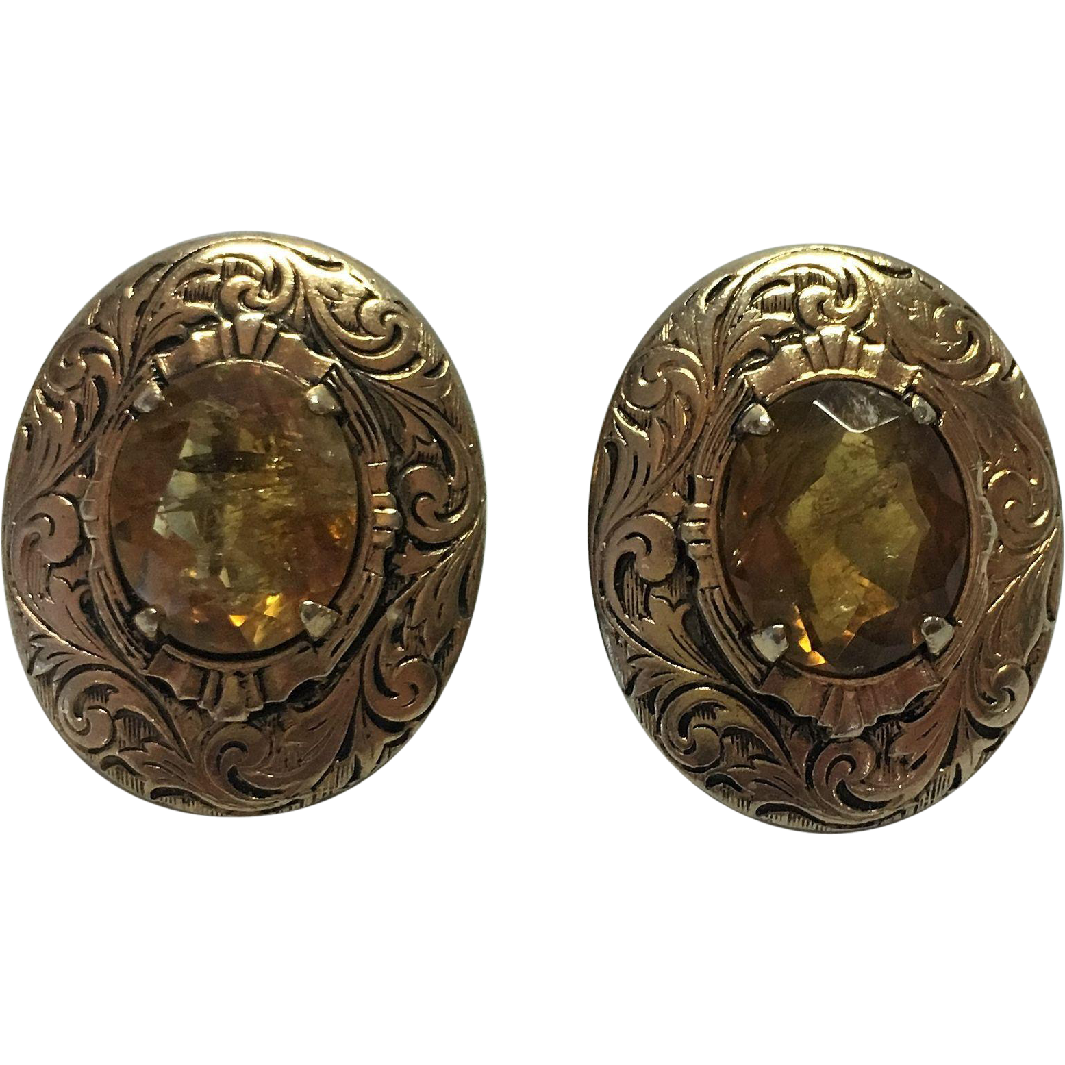 Victorian rolled gold Citrine screw on earrings