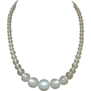 Vintage Pearl white graduated Moon glow necklace