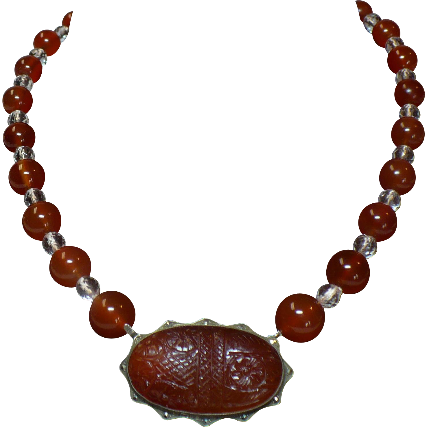 Vintage Carnelian and rock crystal necklace with carved Carnelian Clasp