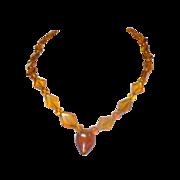 Vintage Unique carved Amber necklace