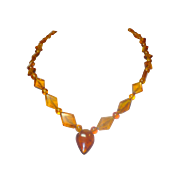 Victorian Unique carved Amber necklace