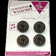 """Vintage """"Le Chic"""" black glass gilt buttons"""