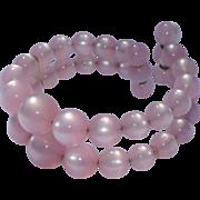 Vintage pale icy Pink Moonglow wire wrap bracelet