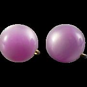 Vintage Lavender pink Moonglow 1/2 dome screw on earrings