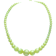 "Vintage moonglow ""Lemon Chiffon"" graduated necklace"
