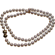 Vintage cultured Mikimoto pearl strand with 14 kt clasp