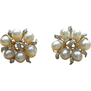 Vintage 14 KT cultured pearl and diamond earrings