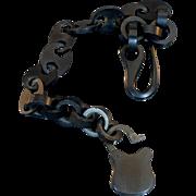 Victorian Gutta Percha watch chain with working lock