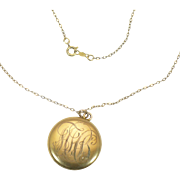 Vintage Monogrammed Rolled gold locket on chain