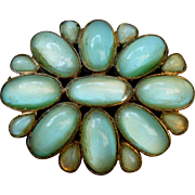 Vintage Czechoslovakia Blue/Green glass brooch