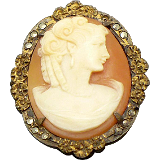 Vintage Sterling marcasite Cameo pendant