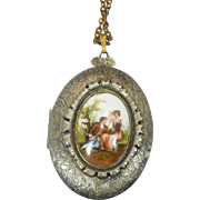 Vintage Locket with Courting couple on front