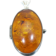 Vintage large Sterling Amber locket