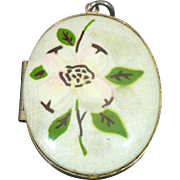 Vintage enameled Dogwood flower locket