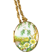 Vintage Yellow flower locket with chain