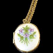 Vintage  gold tone enamel Periwinkle locket