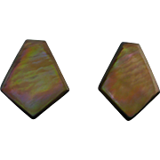 Vintage iridescent shell cip back earrings