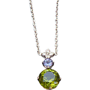 Peridot Tanzanite and Diamond necklace