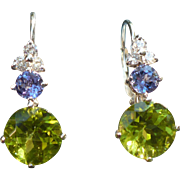 Custom Peridot Tanzanite White Gold earrings