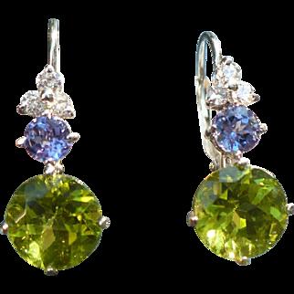 Custom Peridot Tanzanite White Gold earrings