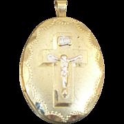 Vintage 14 Kt gold filled Crucifix locket