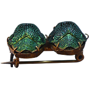 Victorian Green Beetles brooch - Actual Natural Beetles