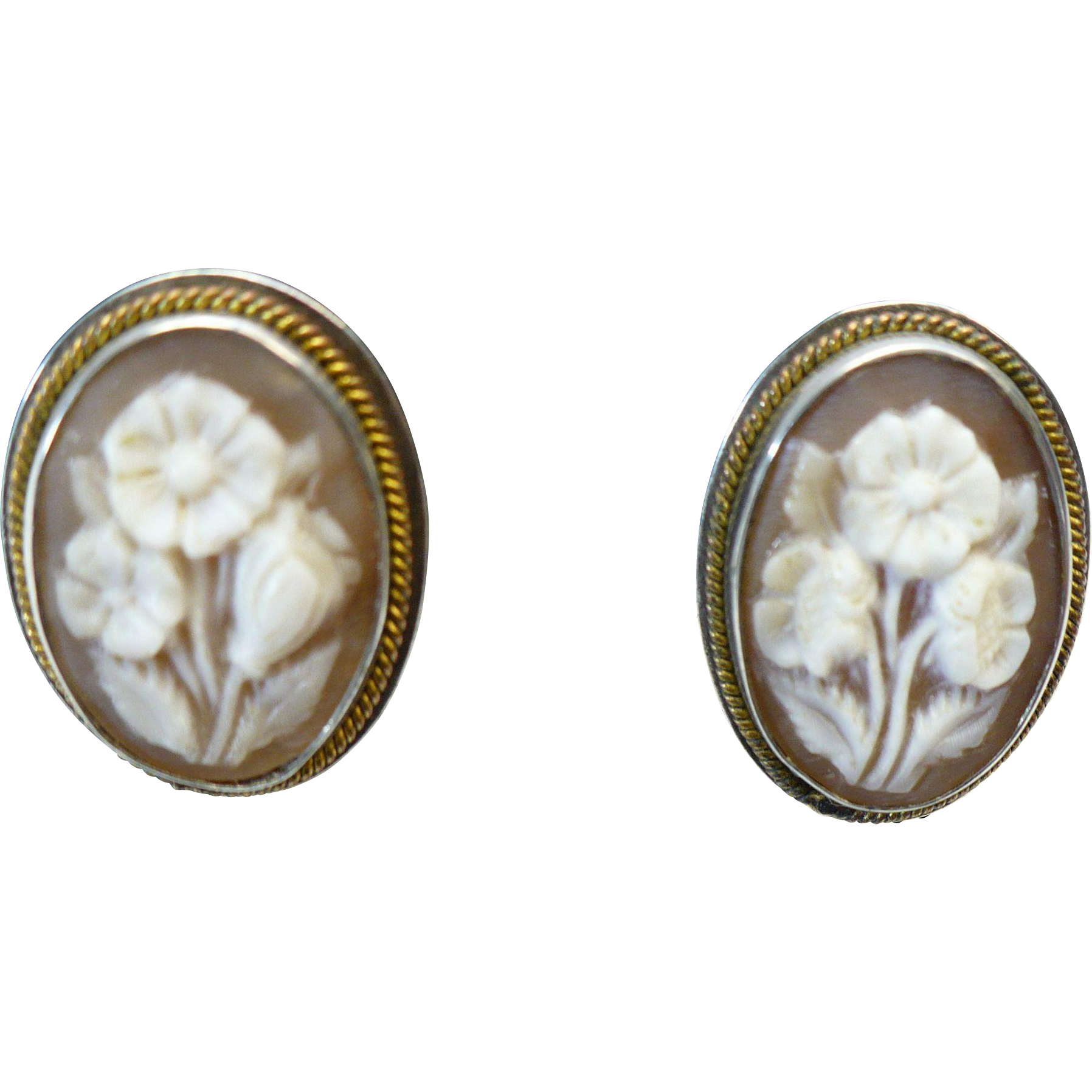 Victorian 800 silver and rolled gold flower cameo earrings