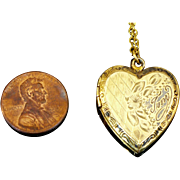 Vintage Gold filled heart Locket with chain.