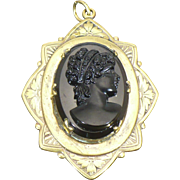 Vintage French Jet Cameo Locket with hand engraving